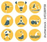 funny fitness sportsmen. vector ...   Shutterstock .eps vector #145188958