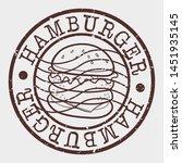 hamburger stamp. fast food... | Shutterstock .eps vector #1451935145