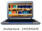 books library on laptop screen... | Shutterstock . vector #1451943335