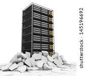 Abstract Illustration of Modern Server Rack Breaking Through From Floor - stock photo