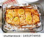 oven baked salmon fish with...