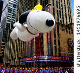 Snoopy balloon floats in the...