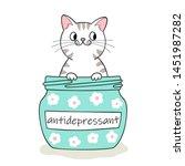 furry antidepressant. cute... | Shutterstock .eps vector #1451987282
