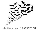 Flying Bats Silhouettes. Flock...