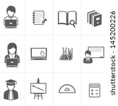 education and student icons set - stock vector