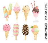 ice cream cone and bar. pastel... | Shutterstock .eps vector #1452051248