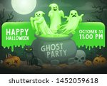 Halloween Ghost Party Vector...