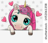 cute cartoon unicorn is holding ... | Shutterstock .eps vector #1452061358