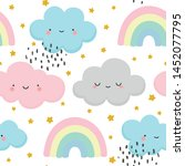 cloud pattern  cute face cloud... | Shutterstock .eps vector #1452077795