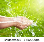 stream of clean water pouring... | Shutterstock . vector #145208086