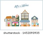 collection of cute house  shop  ... | Shutterstock .eps vector #1452093935