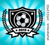 Vector soccer emblem on blue bursting background.