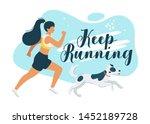 keep running flat vector... | Shutterstock .eps vector #1452189728