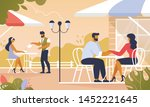 people relax in summer cafe... | Shutterstock .eps vector #1452221645