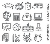 school and education line icons ... | Shutterstock .eps vector #1452244022