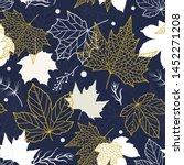 elegant beautiful floral leaves ...   Shutterstock .eps vector #1452271208