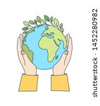 hands holding planet earth with ... | Shutterstock .eps vector #1452280982