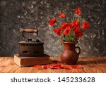 Old Of Books And Flowers In A...