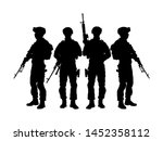 army soldiers with sniper rifle ... | Shutterstock .eps vector #1452358112
