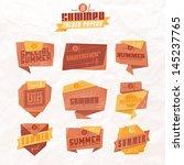 set of origami styled summer... | Shutterstock .eps vector #145237765
