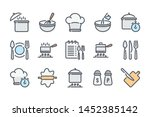 cooking related color line icon ...