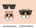 Stock vector cartoon hamster in sunglasses white hair and golden chain kids surprise toy funny pet design 1452415865