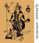 indian goddess kali on a beige...   Shutterstock .eps vector #145246678