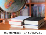 close up many books stacked on... | Shutterstock . vector #1452469262