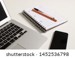 portable telephone and notebook ...   Shutterstock . vector #1452536798