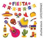 mexican fiesta set  bright... | Shutterstock .eps vector #1452590465