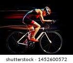 One Caucasian Woman Triathlon...