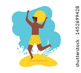 summer time with cool man in... | Shutterstock .eps vector #1452699428