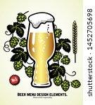big ipa glass of light beer... | Shutterstock .eps vector #1452705698