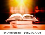 stack of books in the library... | Shutterstock . vector #1452707705
