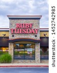 Small photo of Loganville, GA - July 13th 2019: Ruby Tuesday store front sign - American franchise - location located in Georgia off of highway 78. Chain restaurant offers full all you can eat salad bar.
