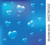 transparent hearts on blue... | Shutterstock .eps vector #1452785102