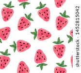 seamless watercolor strawberry... | Shutterstock .eps vector #1452815042