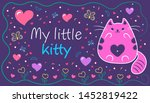 lovely cat with hearts and... | Shutterstock .eps vector #1452819422
