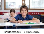 portrait of happy little boy... | Shutterstock . vector #145283002