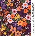elegant floral pattern in small ... | Shutterstock .eps vector #1452844805