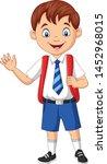 cartoon school boy in uniform... | Shutterstock .eps vector #1452968015