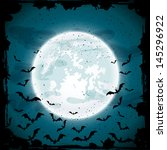 bats on moon background  scary... | Shutterstock . vector #145296922