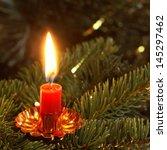 Burning Candle On Christmas...