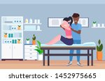woman sitting on massage table... | Shutterstock .eps vector #1452975665