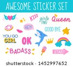 awesome and cool  colorful hand ... | Shutterstock .eps vector #1452997652