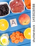 fresh food containing vitamin a ... | Shutterstock . vector #1453028588