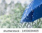 Blue Umbrella Under Heavy Rain...