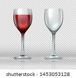 realistic wine glasses.... | Shutterstock . vector #1453053128