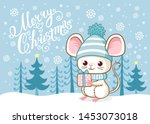 cute merry christmas card with...