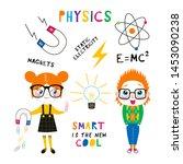 children at physics lesson flat ...   Shutterstock .eps vector #1453090238